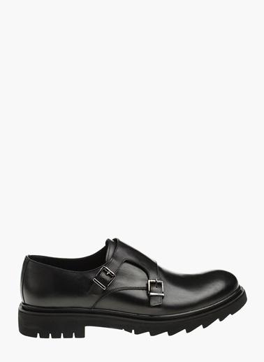 Divarese Çift Tokalı Deri Ayakkabı Siyah